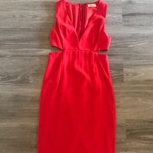 Stylish Red Cutout Cocktail Dress with V Cut